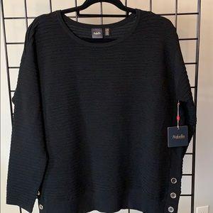 Rafaella Unique Ribbed Black Sweater Petite L NWT